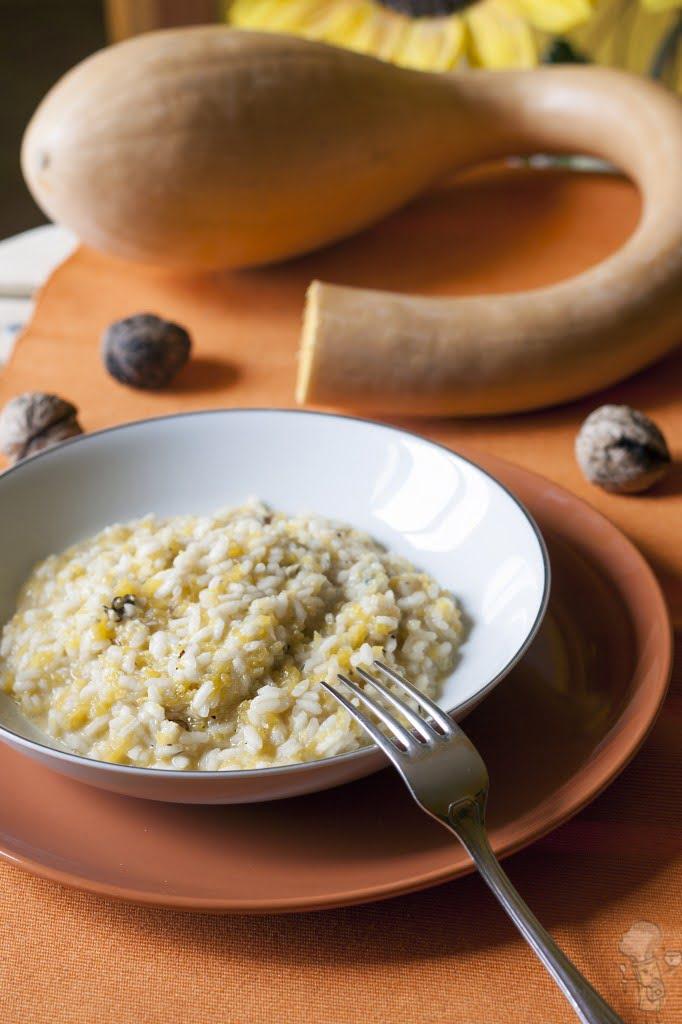 Risotto di zucca e gorgonzola al mascarpone con noci