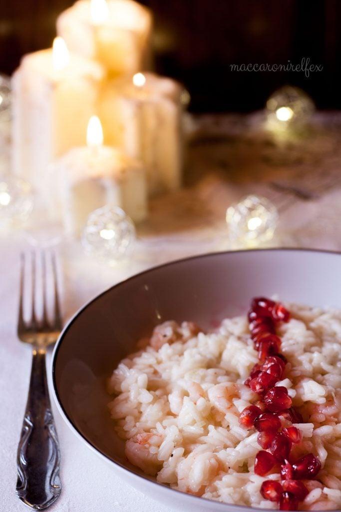 Risotto con melograno e gamberetti: ricetta di capodanno