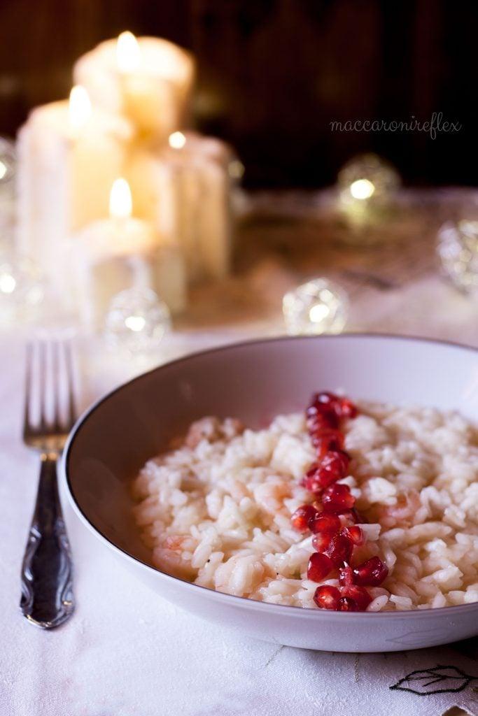 risotto con melograno e gamberetti - ricetta di capodanno