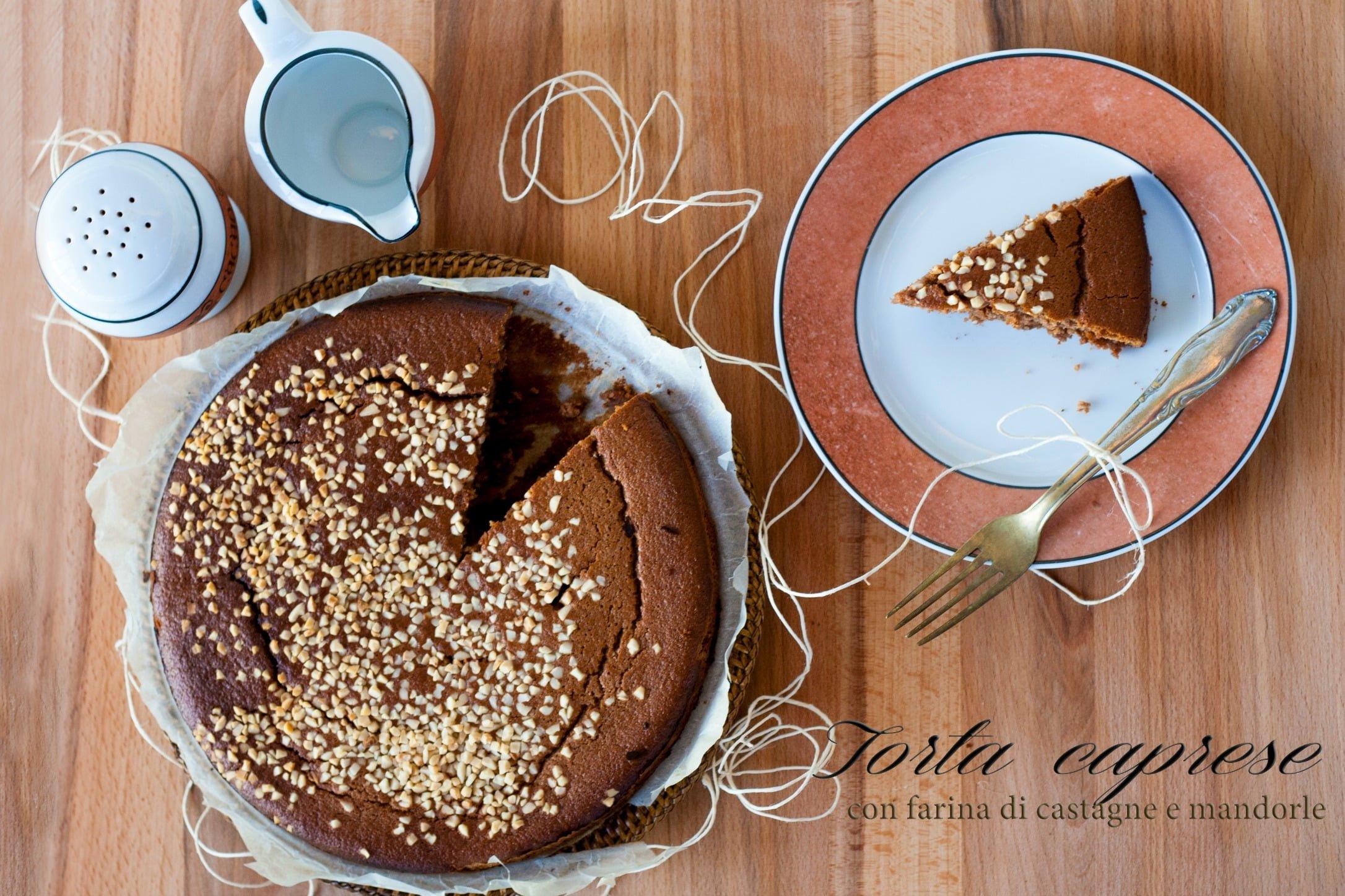 Torta con farina di castagne e mandorle