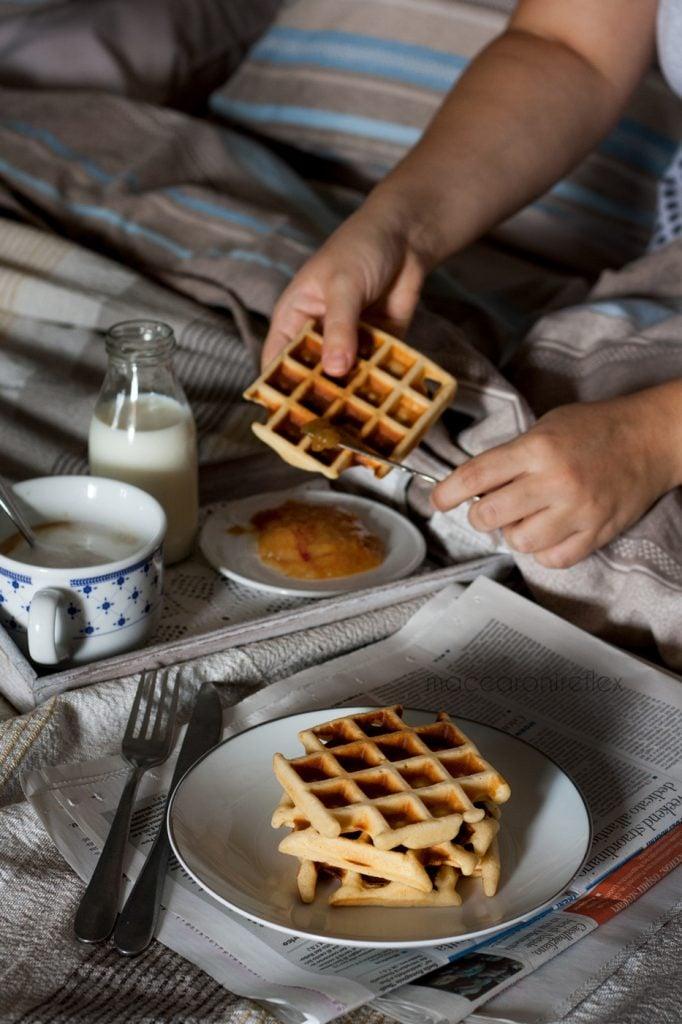 Waffle ricetta americana per colazione a letto