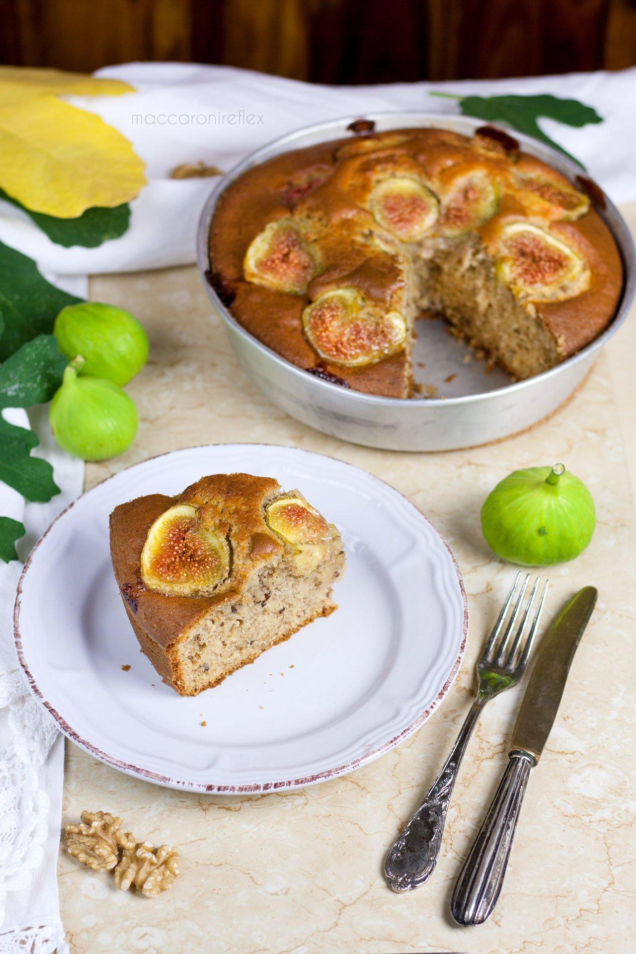 Torta integrale con fichi e noci
